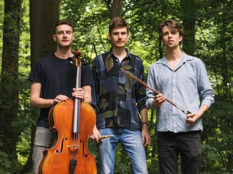 Drei Männer mit Instrument.