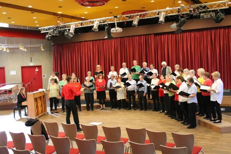 Die Frauen und Männer vom Gemischten Chor Döhren e.V. stehen im Halbkreis auf der Bühne und singen ein Lied.