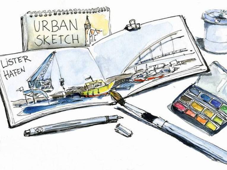 Zu sehen sind Zeichnungen von Utensilien zum Urban Sketch