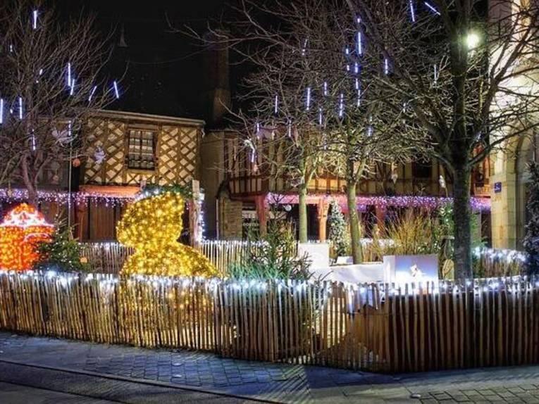 Es ist ein weihnachtlich geschmückter Vorgarten zu sehen.