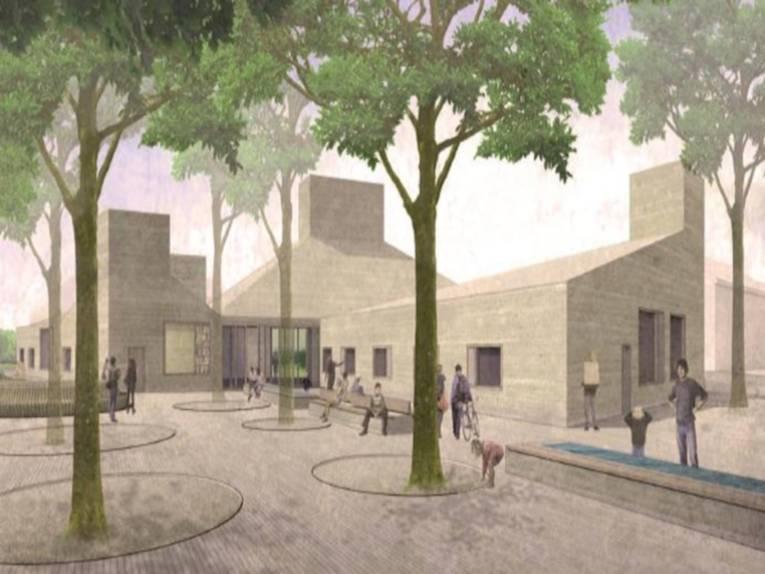 Im Hintergrund das Gebäude (scheinbar 3 Gebäudeteile) in grau, im Vordergrund der Vorplatz mit Baumreihen und Bänken, Frauen, Männer und spielende Kinder