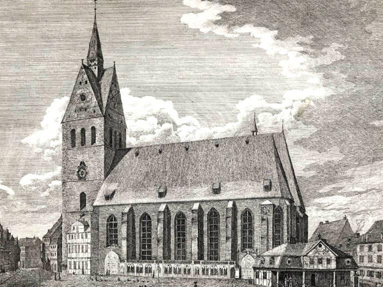 Marktkirche, Kupferstich von Georg Heinrich Busse, vor 1835