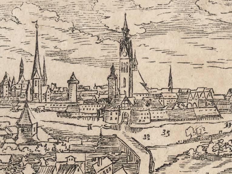 Gesamtansicht Hannovers (Ausschnitt), Holzschnitt von Elias Holwein 1636
