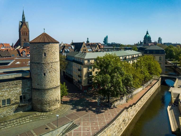 Luftaufnahmen Beginenturm und Historisches Museum Hannover, Digitalfotos, Ulrich Pucknat, 2020