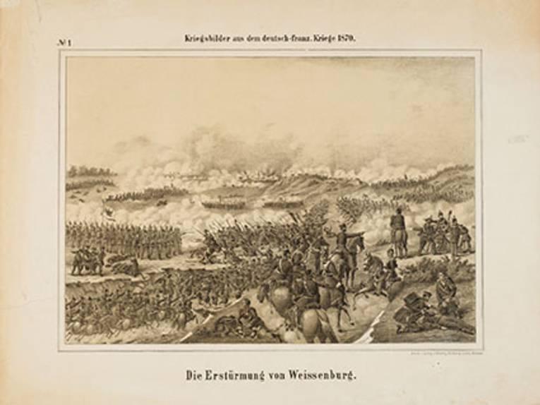 """""""Die Erstürmung von Weißenburg"""", Lithographie, 1870"""