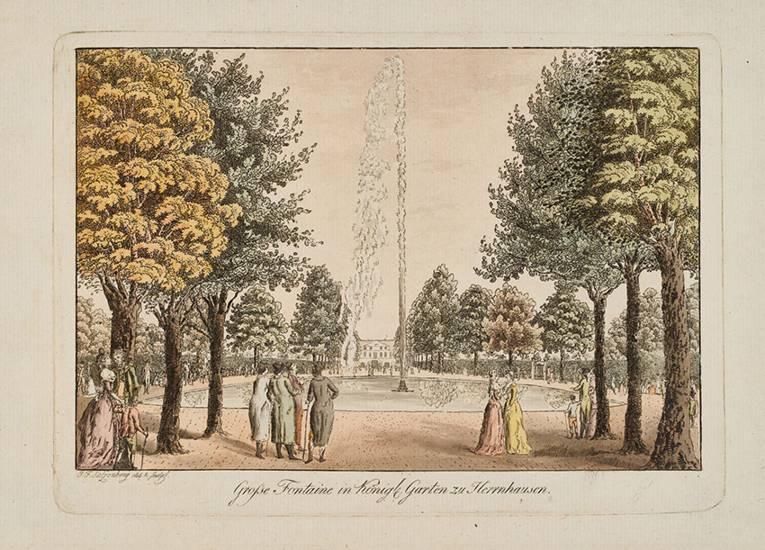 """""""Große Fontaine in Königl. Garten zu Herrenhausen"""", kolorierter Kupferstich von Salzenberg, vermutlich um 1800"""