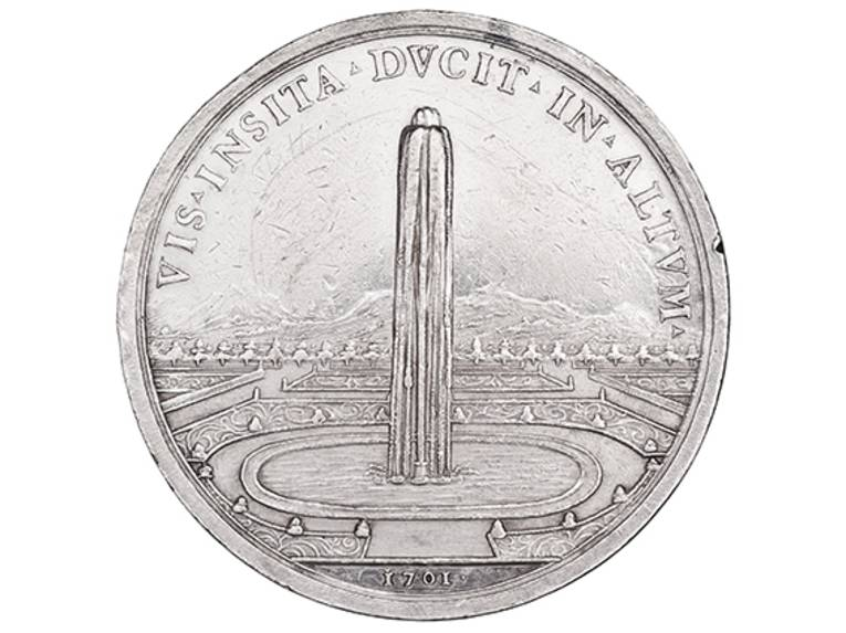 Große Fontäne mit Becken, Rückseite einer Medaille