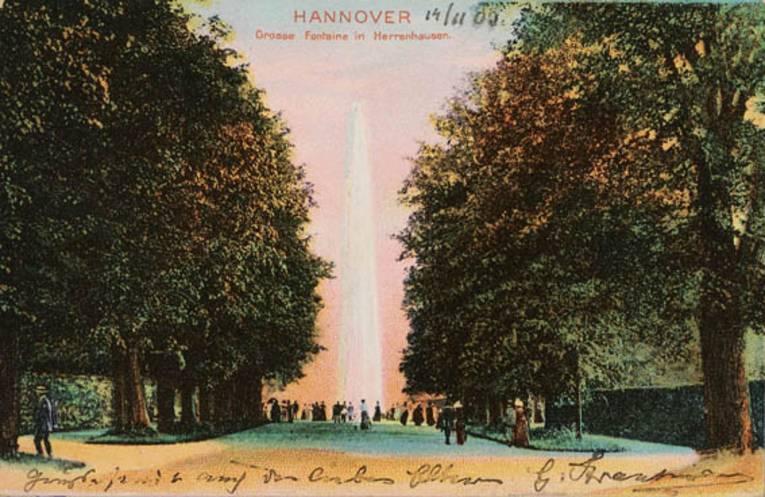 """""""Große Fontaine in Herrenhausen"""", Postkarte, Farbdruck, gestempelt 1903"""