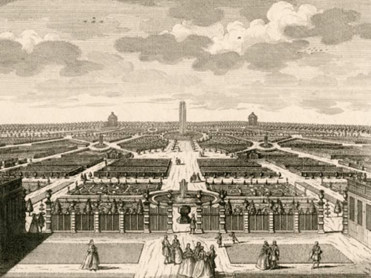 Blick in den Großen Garten, Kupferstich von Joost van Sasse, nach Zeichnung von Johann Jakob Müller