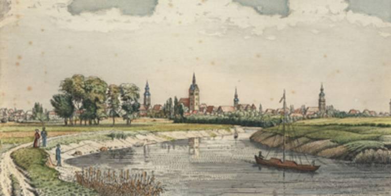 Frachtschiff auf der Leine, Lithographie nach Georg Osterwald, um 1838