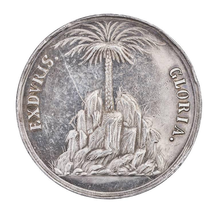 Vergrößerte Medaille mit Fontäne im Becken