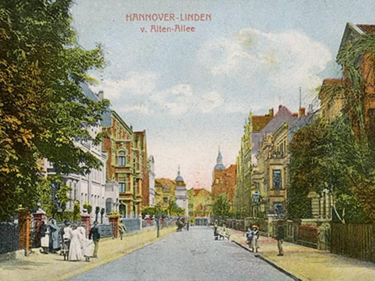 """Postkarte """"Hannover Linden, von Alten Allee"""""""