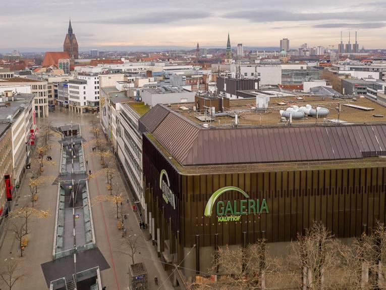 Die Innenstadt fotografiert mit einer Drohne