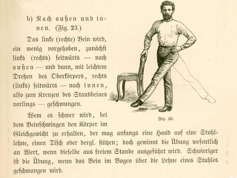 """Illustration und Anleitung (in Frakturschrift) zu einer anderen Gymnastikübung """"Beinschwingen"""""""