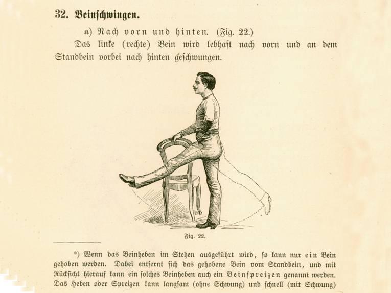 """Illustration und Anleitung (in Frakturschrift) zur Gymnastikübung """"Beinschwingen"""""""