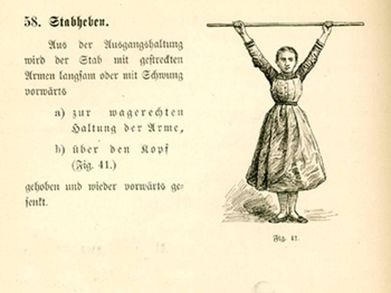"""Illustration und Anleitung (in Frakturschrift) zur Gymnastikübung """"Stabheben"""""""
