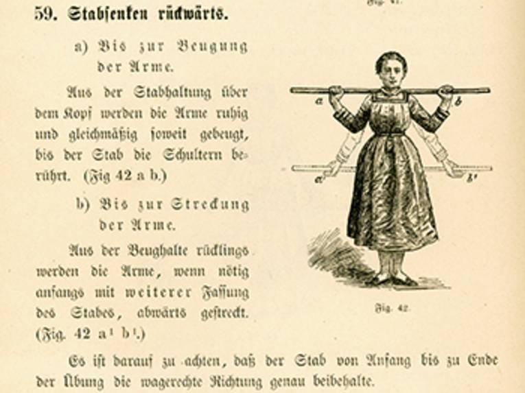 """Illustration und Anleitung (in Frakturschrift) zu einer anderen Gymnastikübung """"Stabheben"""""""