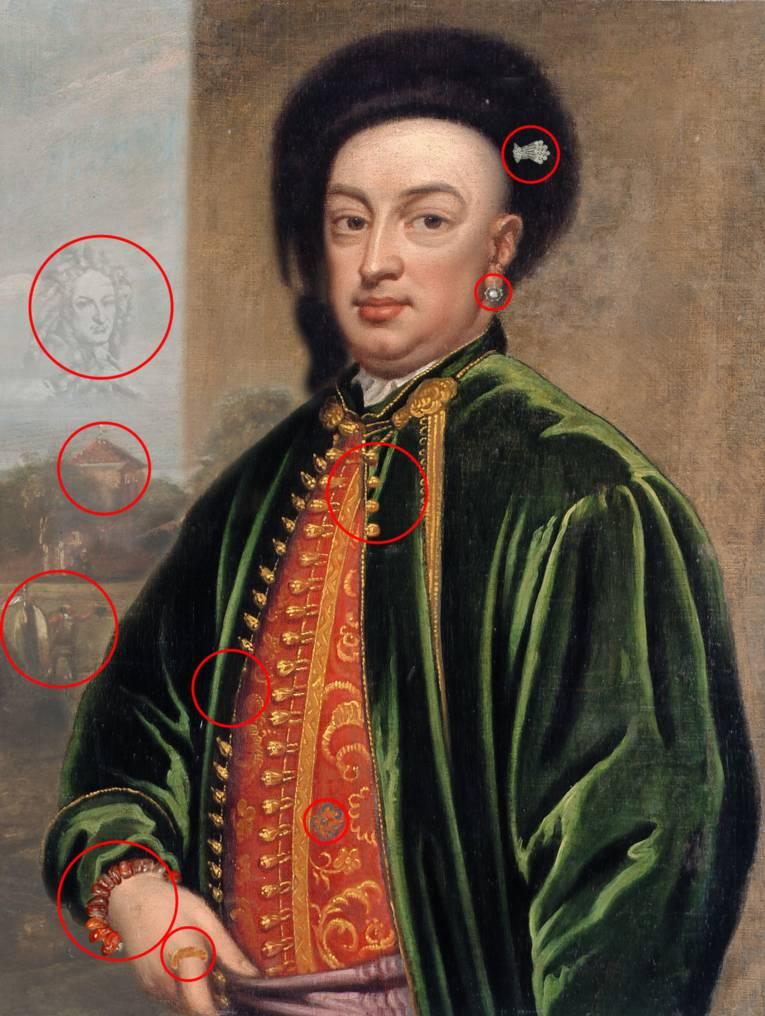 """Mehmet von Königstreu Lösung des Rätsels, """"gefälschte"""" Bilddetails rot umkreist"""