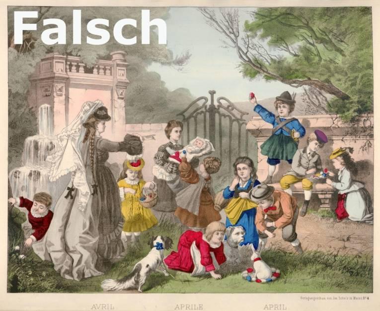 Spielende Kinder die Ostereier sammeln, Bild mit Fehlern