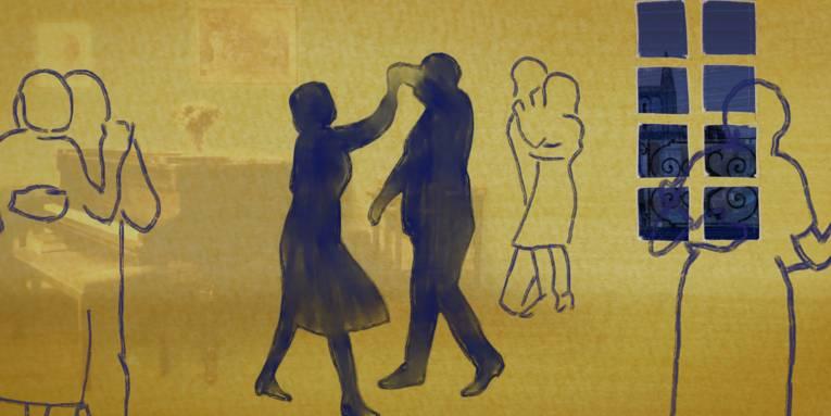 Im Bild zu sehen ist ein Klavierzimmer, in dem animierte Silhouetten in Gelb und Blau als Paare tanzen.