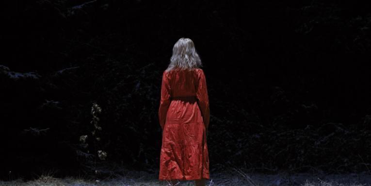 Zu sehen ist eine person die in einem rotem kleid im wald steht.