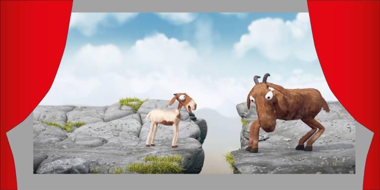 """Auf der Leinwand zwei Ziegen aus dem Kurzfilm """"Kopf hoch"""""""