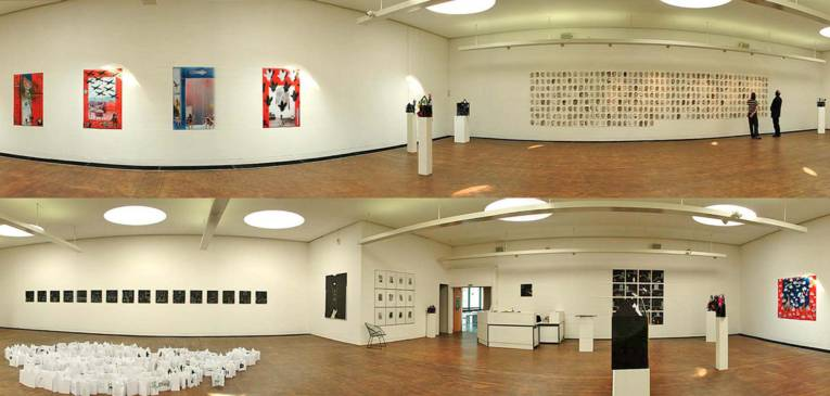 A view into the interior of the KUBUS (here with the 'Dagmar Brand' exhibition)