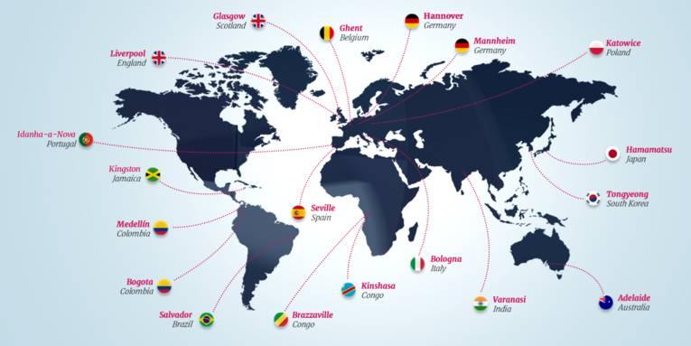 Karte Cities of Music weltweit