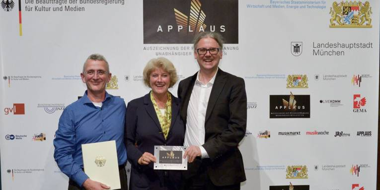 v.l.n.r.: Andreas Burckhardt, Kulturstaatsministerin Monika Grütters und Felix Petry