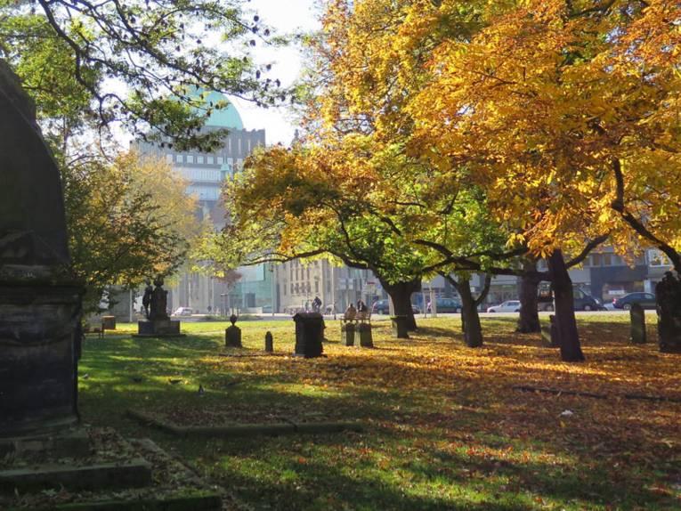 Historische Grabsteine unter alten Bäumen mit Herbstfärbung