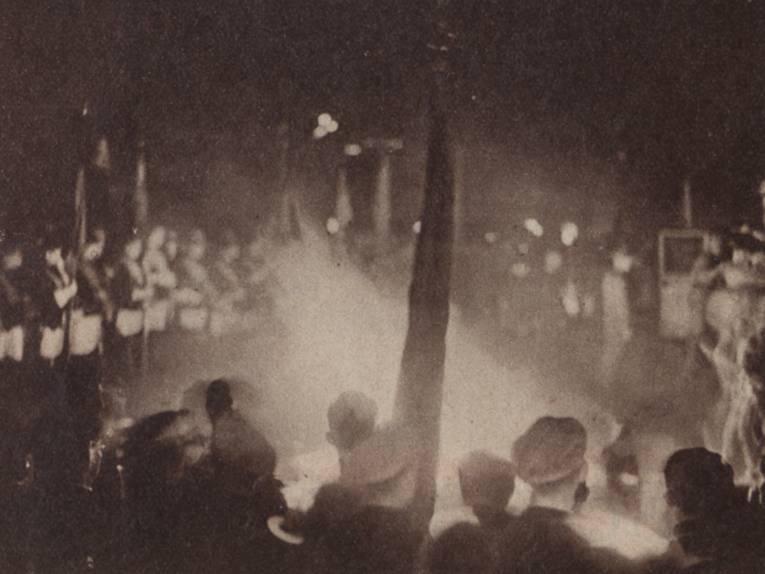 Die Bücherverbrennung in den Maschwiesen im Mai 1933
