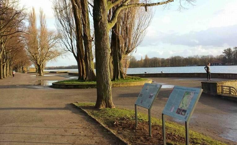 Standort der Gedenktafeln Bücherverbennung und Bismarcksäule am Maschsee