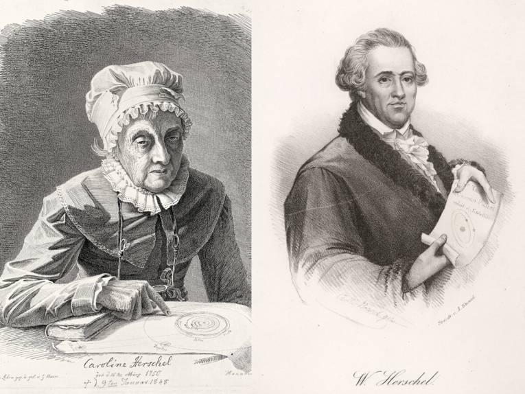 Links ein Kupferstich mit Caroline Herschel im Alter von 97 Jahren, bei dem sie mit dem Finger auf eine Zeichnung mit Sternenkreisen zeigt; rechts eine Lithografie von Wilhelm Herschel, der ein Papier mit Sternenbahnen entrollt.