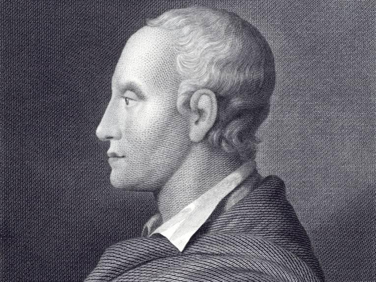 Brustbild des Dichters im seitlichen Profil