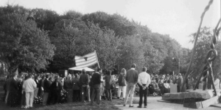 Einweihungsfeier des Mahnmals für das KZ Stöcken am 7. Mai 1987