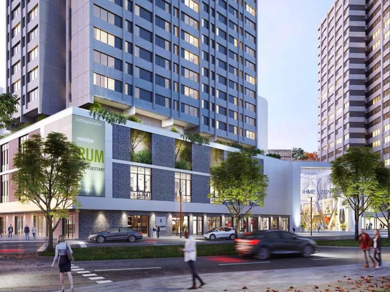 Entwurf der neuen Fassade des Ihme-Zentrums aus Blickrichtung Küchengarten/Blumenauer Straße