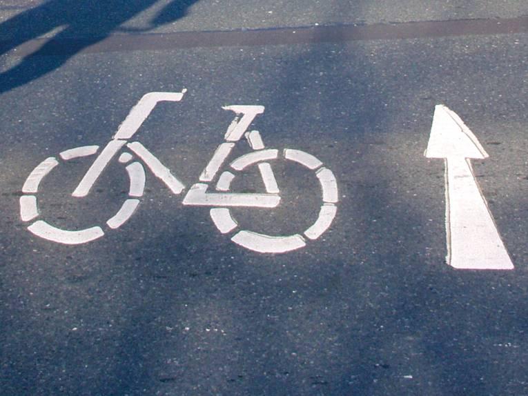 Fahrbahnmarkierung eines Radwegs
