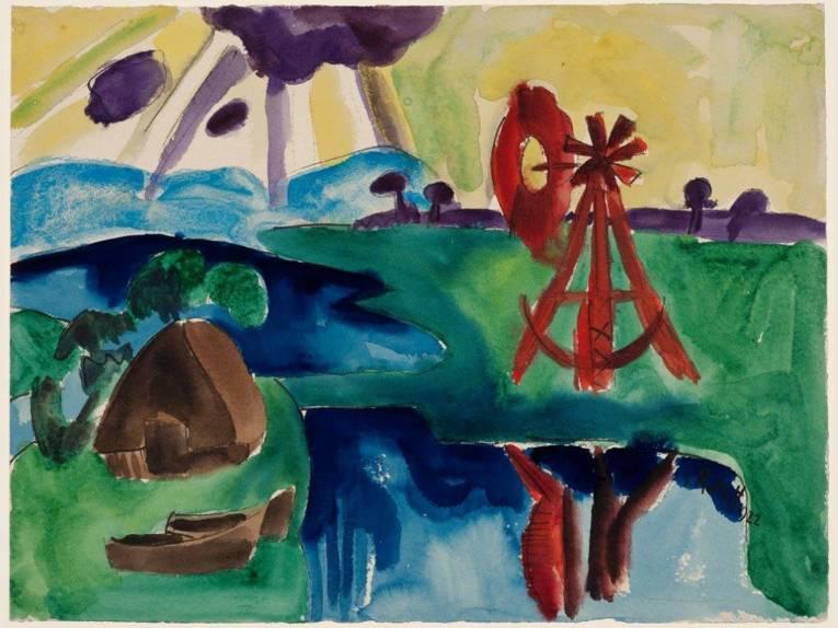 Karl Schmidt-Rottluff; Marschlandschaft mit rotem Windrad (Das Windrad) 1922; Aquarellfarbe auf Papier; 49 x 65,1 cm