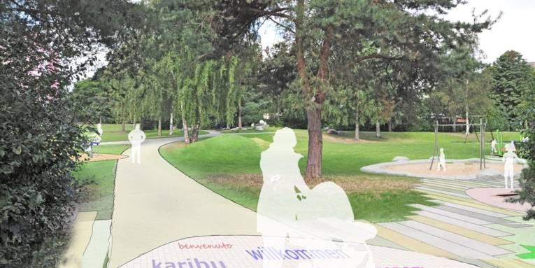 Visualisierung eines Stadtteilparks.