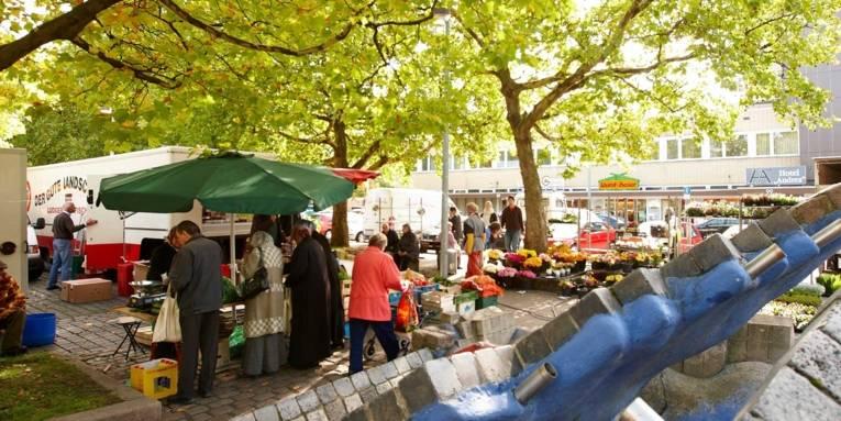 Marktbesucherinnen an verschiedenen Wochenmarktständen; im Vordergrund der Stöckener Brunnen, im Hintergrund Platanen und Geschäftshäuser