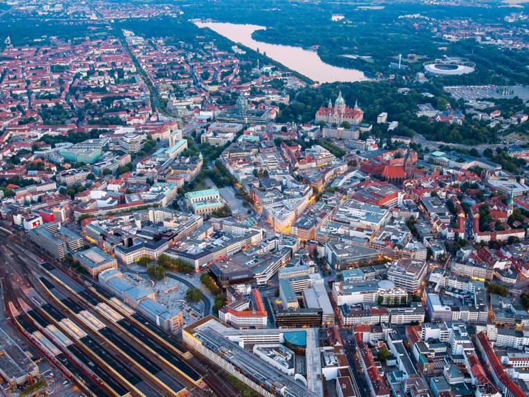 Luftbild der hannoverschen Innenstadt