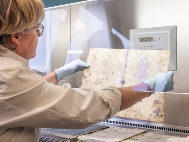 Eine Frau hält ein Archivstück in den Händen