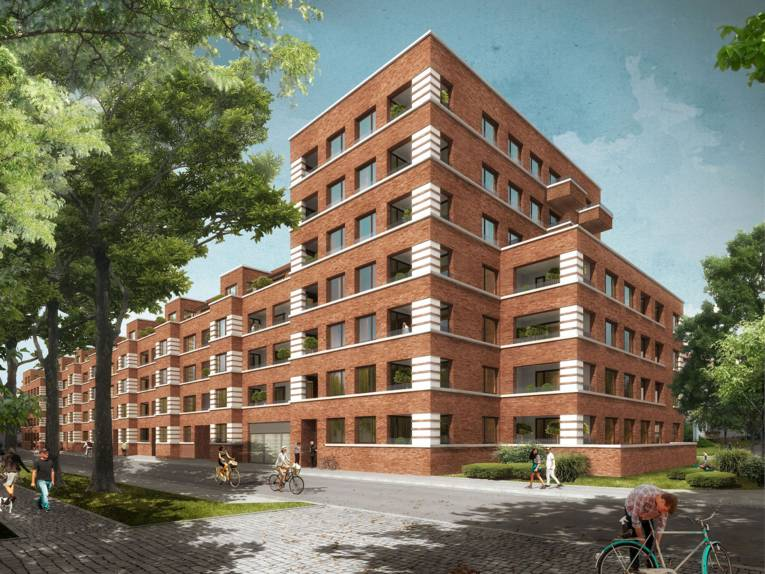 Visualisierung eines siebengeschossigen Wohnhauses.