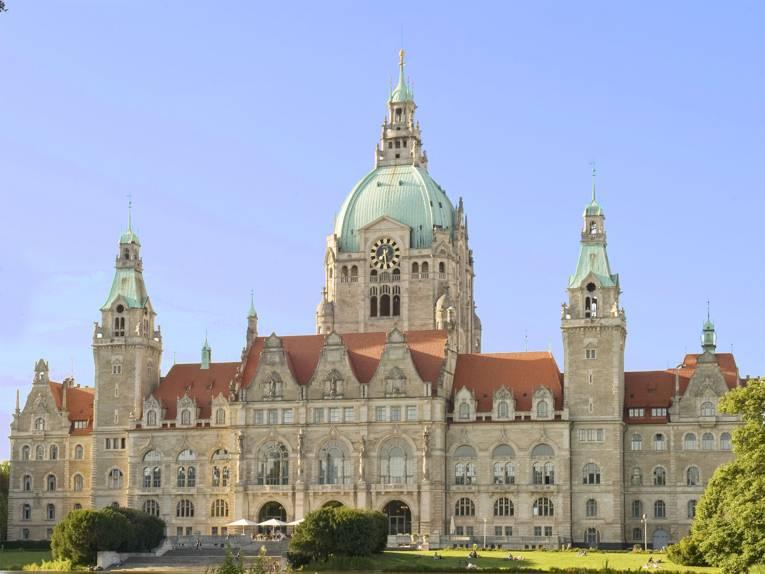 Neues Rathaus der Landeshauptstadt Hannover plastisch dargestellt