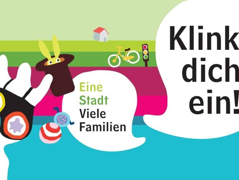 """Eine Nana-Skulptur, ein Zylinder mit Hase, ein Rollstuhl, ein Ball, ein Fahrrad, eine Verkehrsampel, ein Wohnwagen und zwei Sprechblasen: """"Eine Stadt - viele Familien"""" und die Aufforderung """"Klink dich ein""""."""