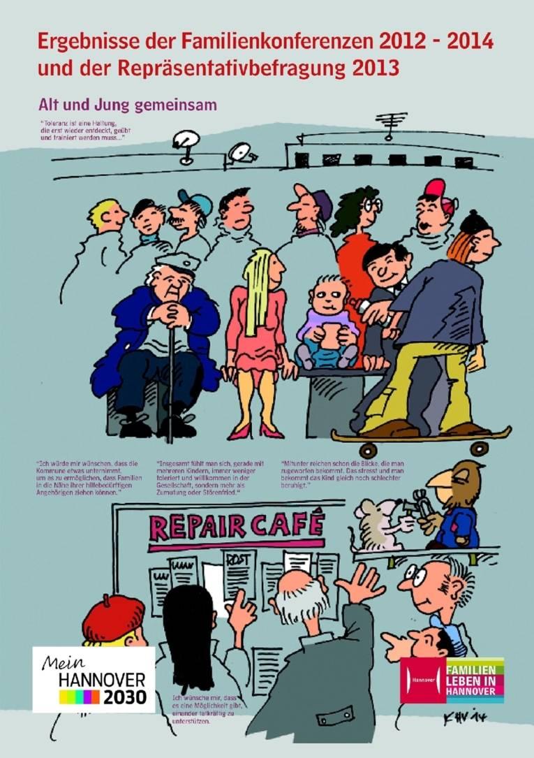 Ein Plakat aus der zehnteiligen Ausstellung zur Illustration der Ergebnisse von Familienmonitoring, Repräsentativbefragung und Familienkonferenzen. Bei diesem Motiv geht es darum, dass es oft an Akzeptanz dafür fehlt, dass Kinder auch mal laut sein dürfen - und um den Wunsch nach einer Plattform für gegenseitige praktische Unterstützung.