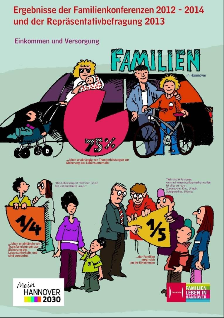 Ein Plakat aus der zehnteiligen Ausstellung zur Illustration der Ergebnisse von Familienmonitoring, Repräsentativbefragung und Familienkonferenzen. Bei diesem Motiv geht es um die - oft schwierige - Einkommenssituation von Familien mit Kindern.