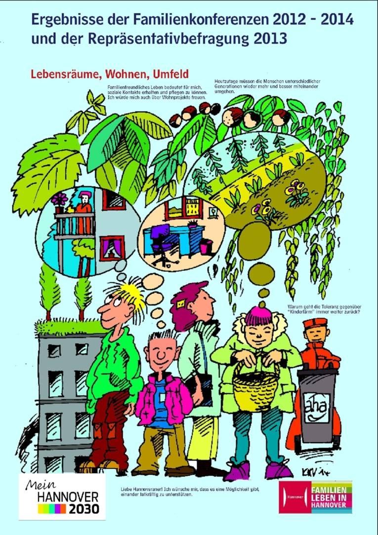 Ein Plakat aus der zehnteiligen Ausstellung zur Illustration der Ergebnisse von Familienmonitoring, Repräsentativbefragung und Familienkonferenzen. Bei diesem Motiv geht es um Wünsche nach Gemeinschaftswohnprojekten, das Miteinander der Generationen und Strukturen für Nachbarschaftshilfe.