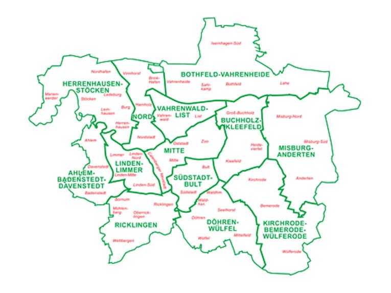 Die Stadtbezirke der Landeshauptstadt Hannover