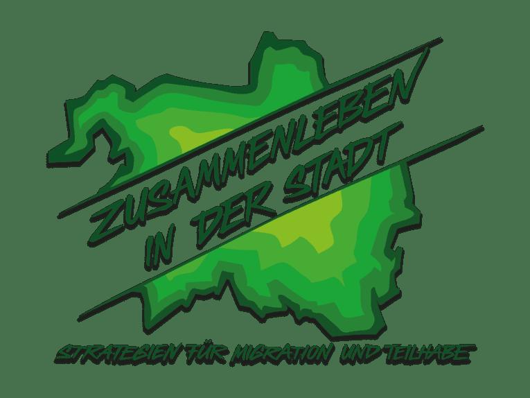 """Logo: Umriss der Stadt mit dem Schriftzug """"Zusammenleben in der Stadt"""" in der Mitte. Unten steht der Text """"Strategien für Migration und Teilhabe"""""""